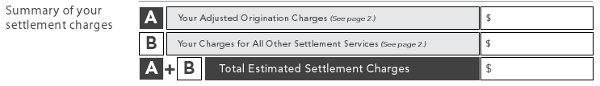 Good Faith Estimate GFE summary of your settlement charges